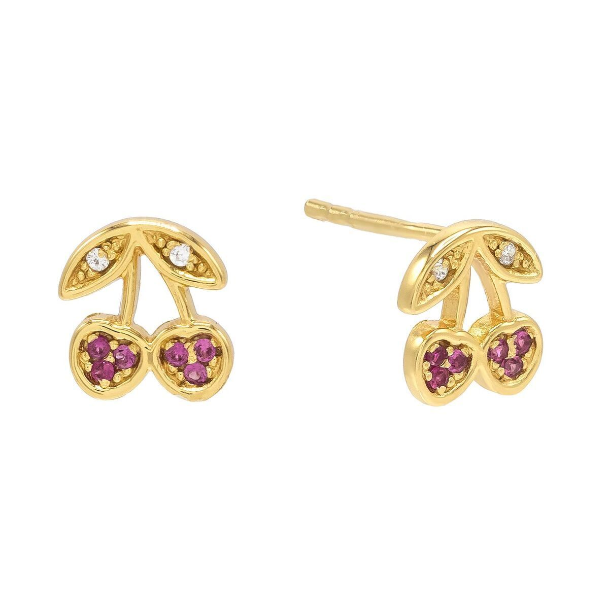 Cherry Stud Earring Gold | Urban Accessories NYC