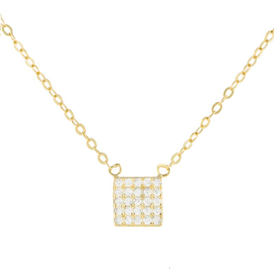 Square Pave Pendant Necklace  | Urban Accessories NYC