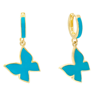 Enamel Butterfly Huggie Earring Turquoise | Urban Accessories NYC