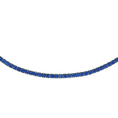 Rhodium Tennis Choker Blue | Urban Accessories NYC