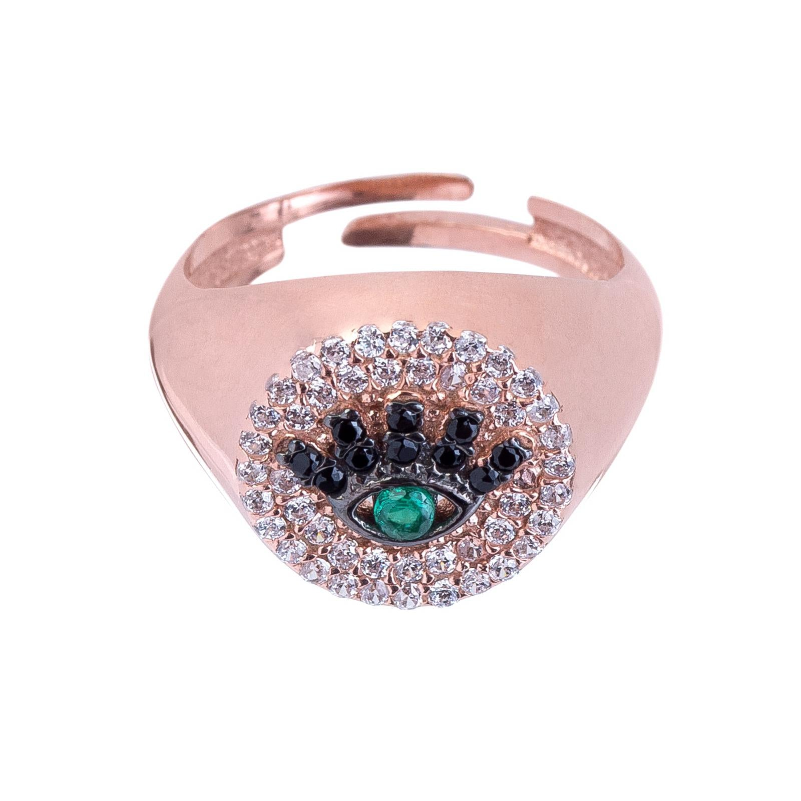 Evil Eye Adjustable Pinky Ring Rose Gold | Urban Accessories NYC