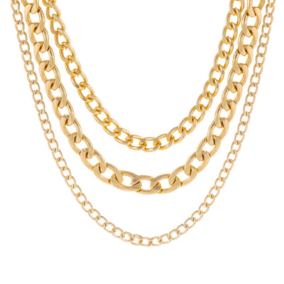 Layered Cuban Necklace Gold | Urban Accessories NYC