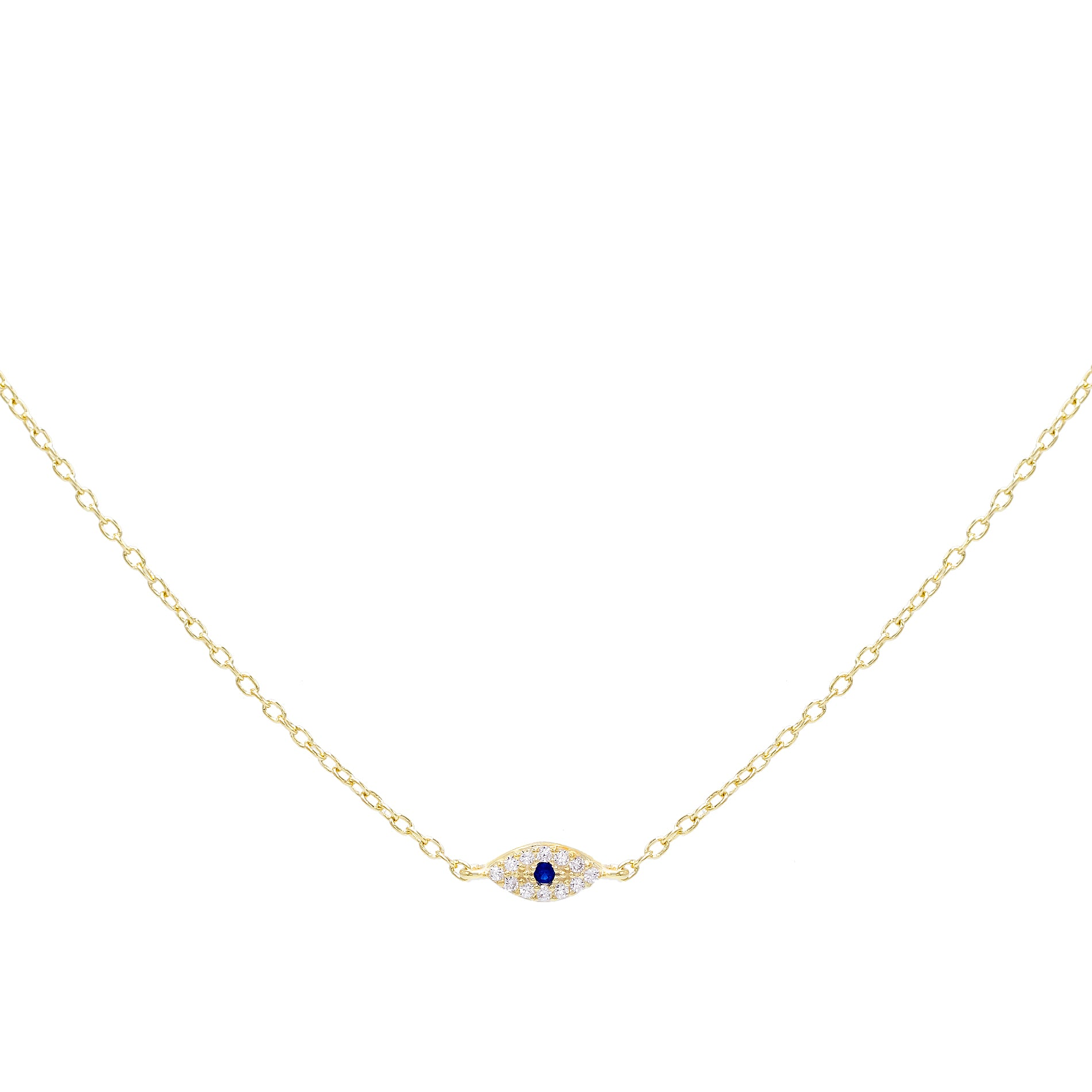 Mini Evil Eye Necklace Sapphire Blue | Urban Accessories NYC