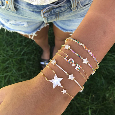 Gold Star Enamel Bracelet  | Urban Accessories NYC