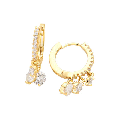 Crystal Dangle Huggies Gold | Urban Accessories NYC