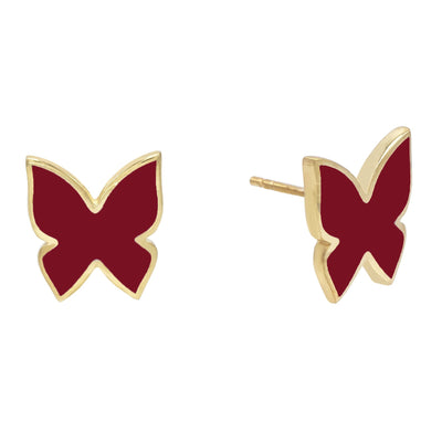 Enamel Butterfly Stud Earring Red | Urban Accessories NYC