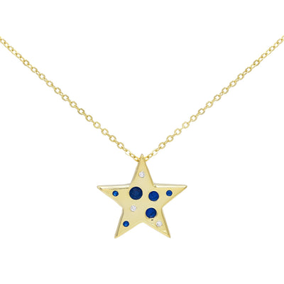 Colored Star Stones Necklace Sapphire Blue | Urban Accessories NYC