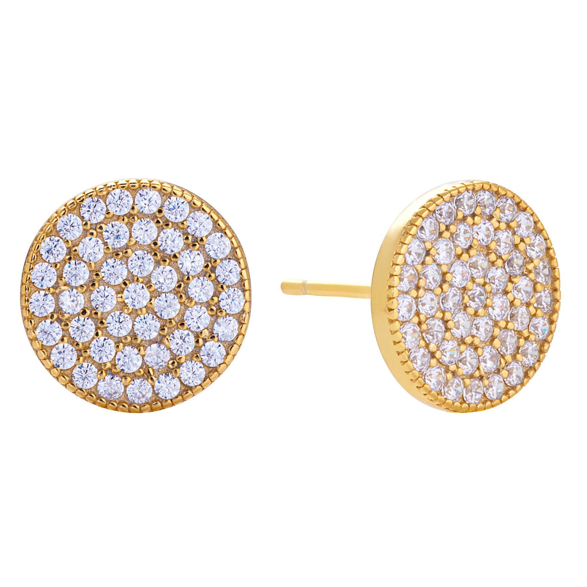 Pavé Disc Stud Earring Gold | Urban Accessories NYC