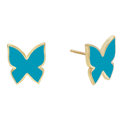 Enamel Butterfly Stud Earring Turquoise | Urban Accessories NYC