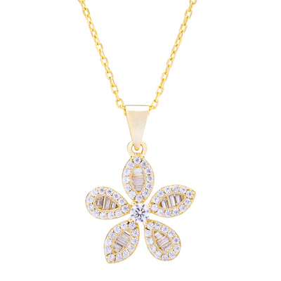 CZ Flower Necklace Gold | Urban Accessories NYC
