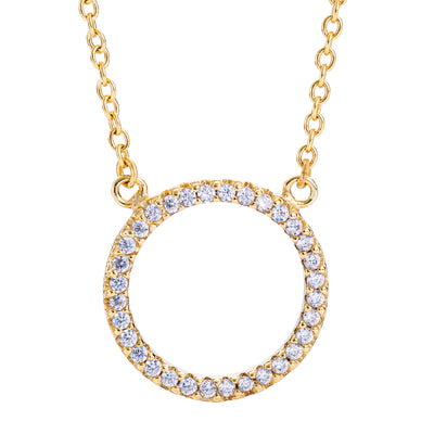 Pavé Circle Necklace Gold | Urban Accessories NYC