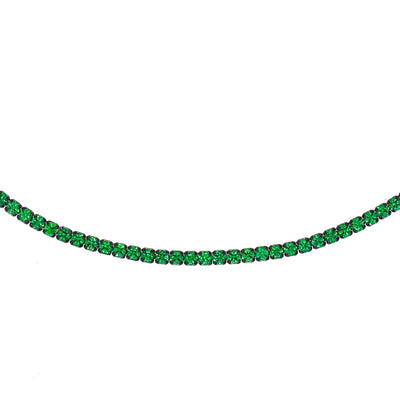Rhodium Tennis Choker Green | Urban Accessories NYC