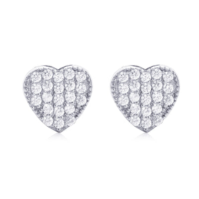 Pavé Heart Stud Earring Silver | Urban Accessories NYC