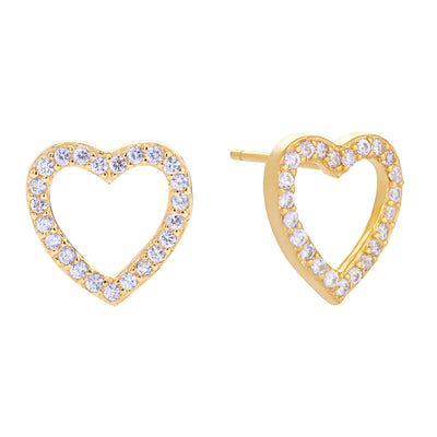 Open Heart Stud Earring Gold | Urban Accessories NYC