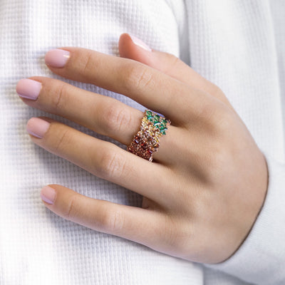 Colorful Baguette Ring  | Urban Accessories NYC
