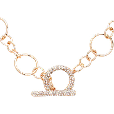 Gold Chain Necklace With Pave Open Circle  | Urban Accessories NYC