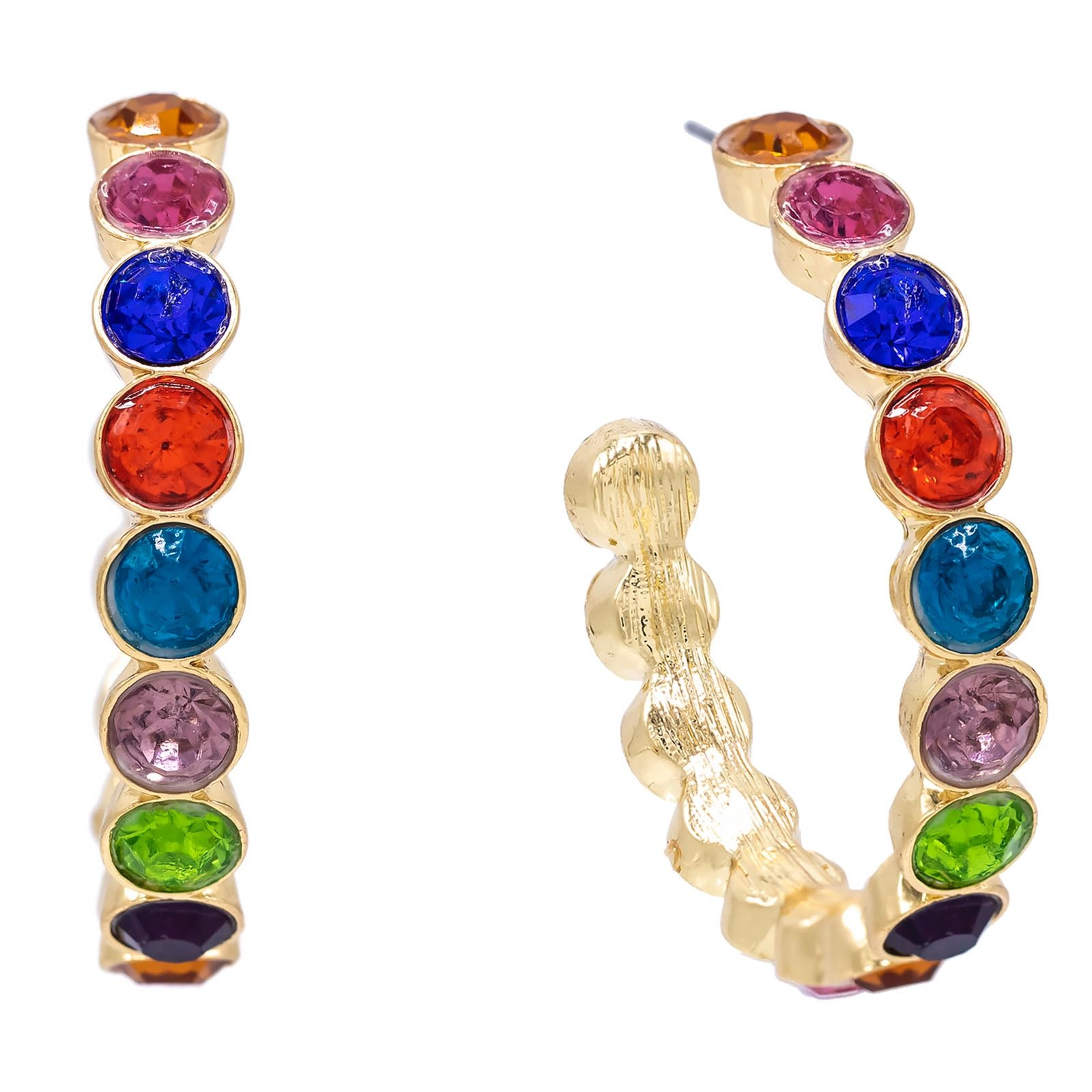Multi-Color Stone Hoop Earring  | Urban Accessories NYC