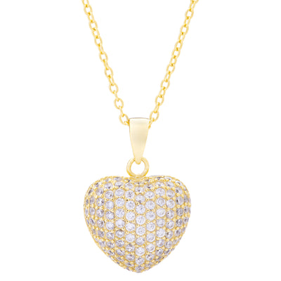 Pavé Heart Necklace Gold | Urban Accessories NYC