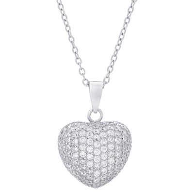 Pavé Heart Necklace Silver | Urban Accessories NYC