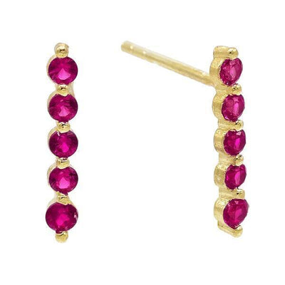 Long Bezel Stud Earring Magenta | Urban Accessories NYC