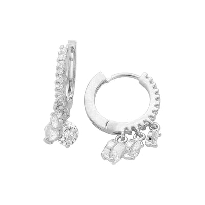 Crystal Dangle Huggies Silver | Urban Accessories NYC