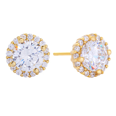 CZ Stud Earring Gold | Urban Accessories NYC