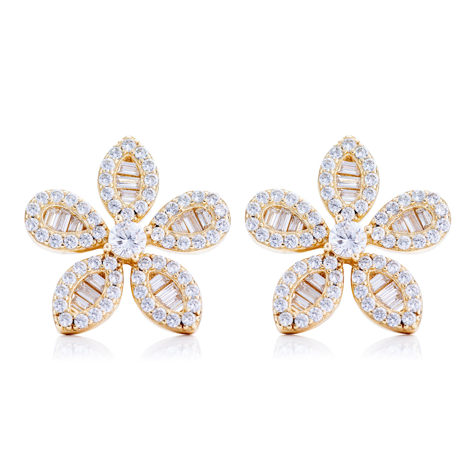 CZ Flower Stud Earring Gold | Urban Accessories NYC