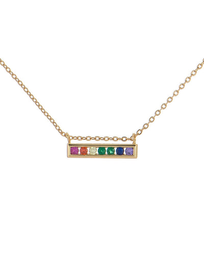 Rainbow Pavé Bar Necklace  | Urban Accessories NYC