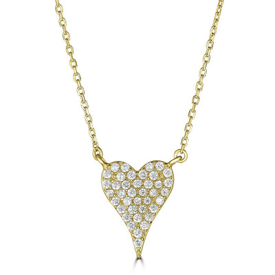 CZ Heart Necklace Gold | Urban Accessories NYC