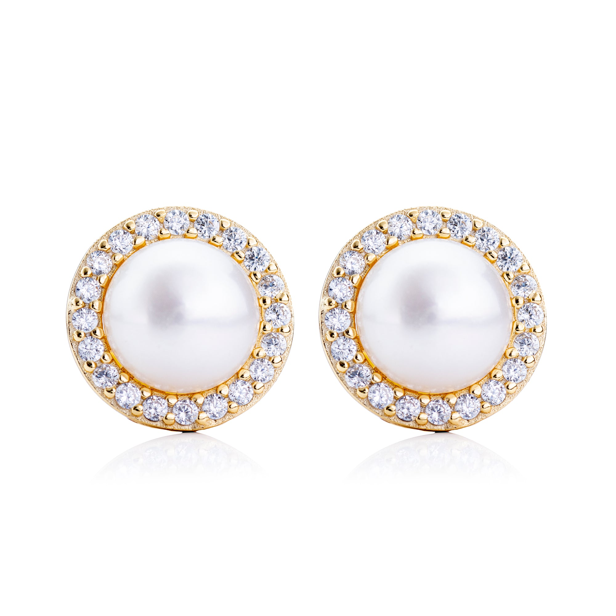 Pearl Circle Stud Earring Gold | Urban Accessories NYC