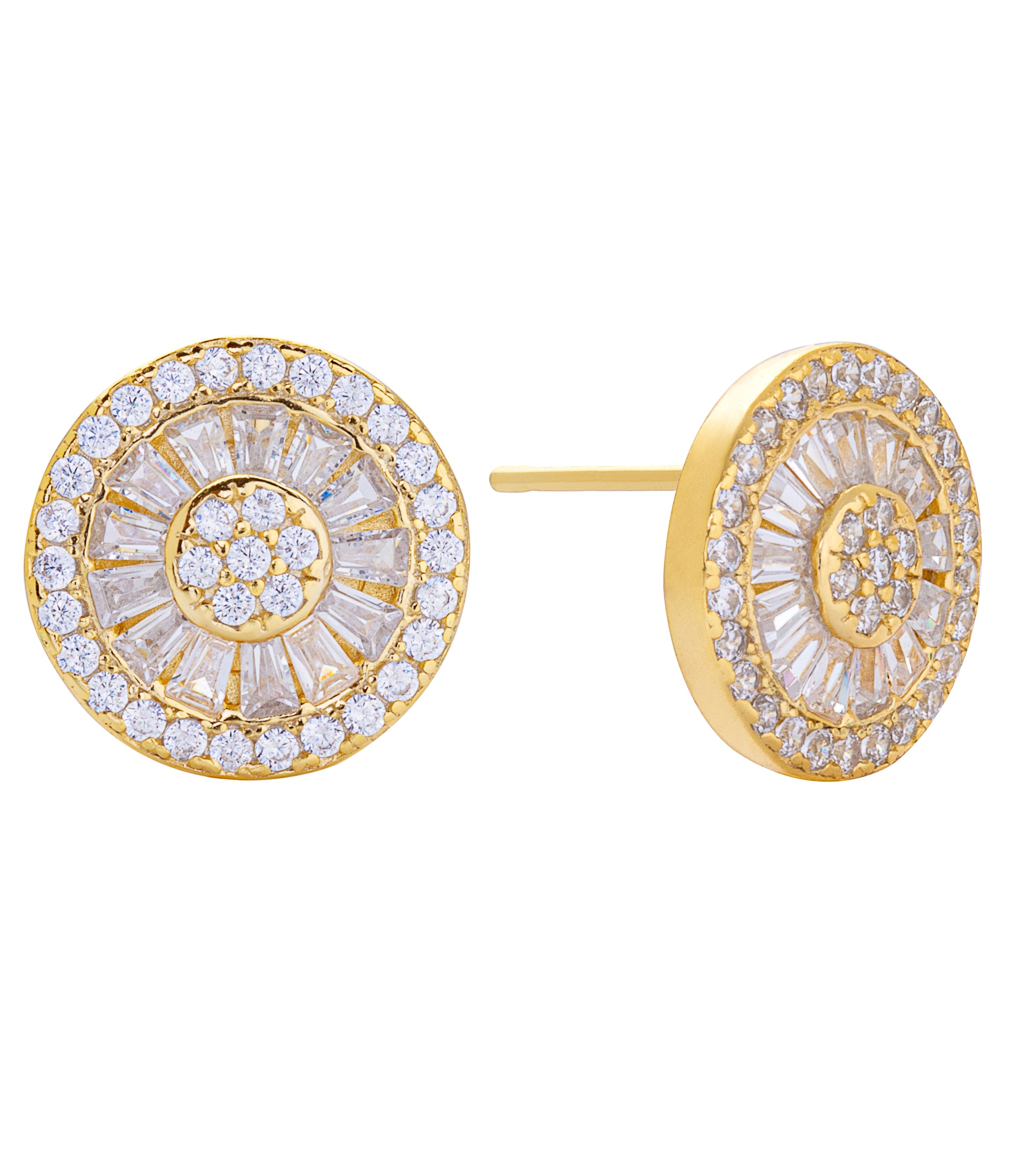 Medallion Stud Earring Gold | Urban Accessories NYC