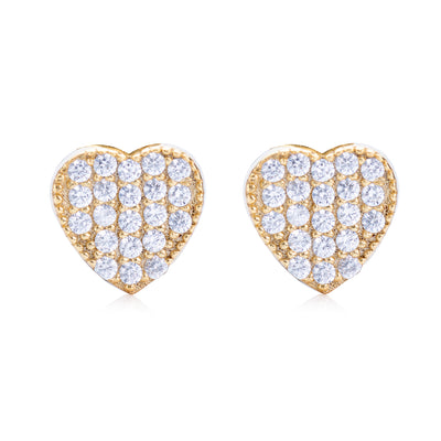 Pavé Heart Stud Earring Gold | Urban Accessories NYC