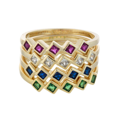 Stackable Multi-Color Midi Ring Set 6 | Urban Accessories NYC