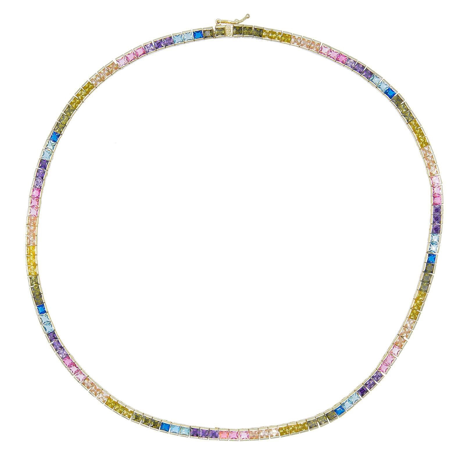 Rainbow Princess Cut Necklace  | Urban Accessories NYC