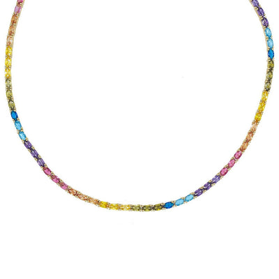 Multi-Color Oval Tennis Necklace  | Urban Accessories NYC