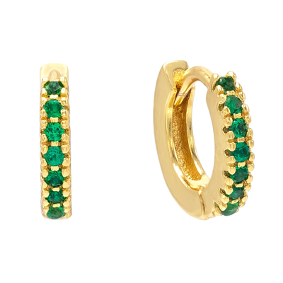 CZ Mini Huggie Earring EMERALD GREEN | Urban Accessories NYC