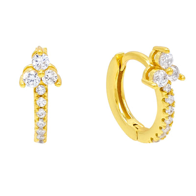 CZ Cluster Huggie Earring Gold | Urban Accessories NYC