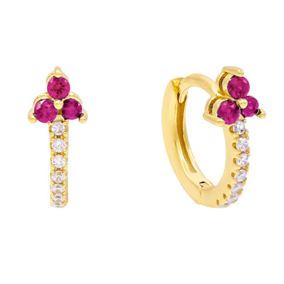 CZ Cluster Huggie Earring Magenta | Urban Accessories NYC