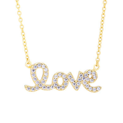 Love Script Necklace Gold | Urban Accessories NYC