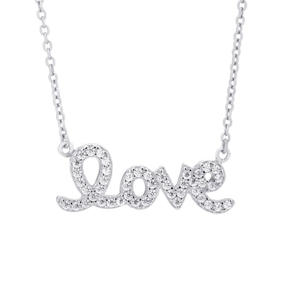 Love Script Necklace Silver | Urban Accessories NYC
