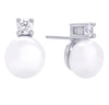 Pearl Stone Stud Earring Silver | Urban Accessories NYC