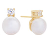 Pearl Stone Stud Earring Gold | Urban Accessories NYC