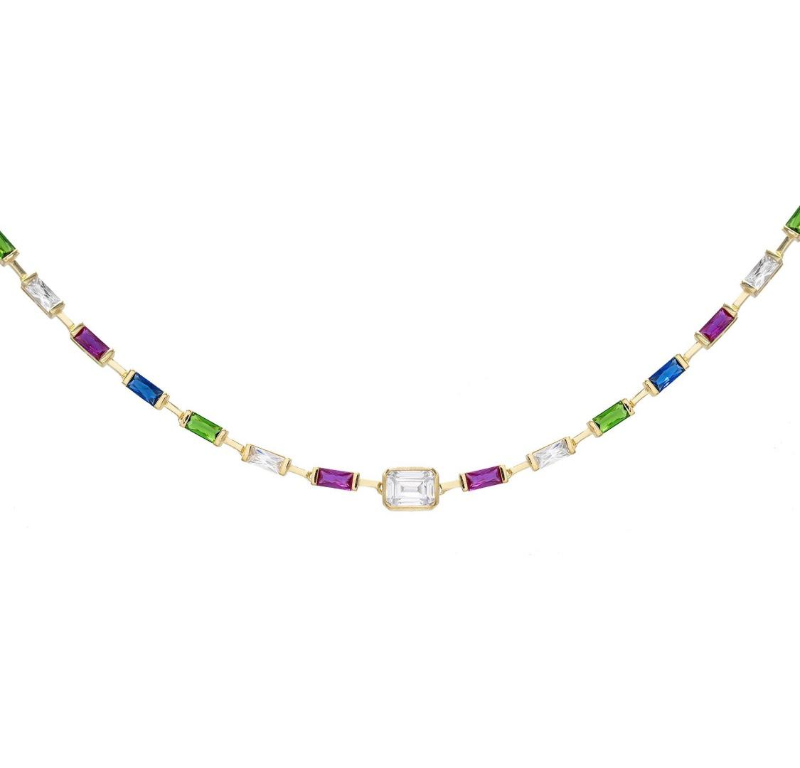 Rainbow Baguette Choker  | Urban Accessories NYC