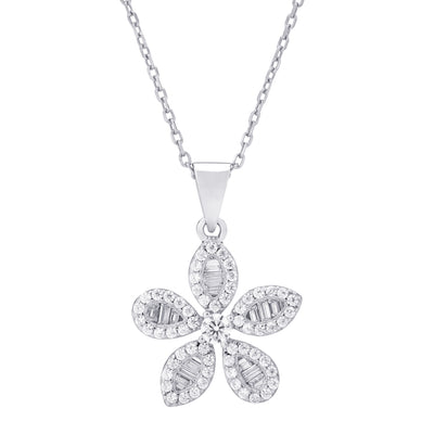 CZ Flower Necklace Silver | Urban Accessories NYC