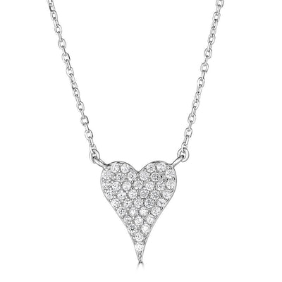CZ Heart Necklace Silver | Urban Accessories NYC