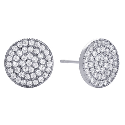 Pavé Disc Stud Earring Silver | Urban Accessories NYC