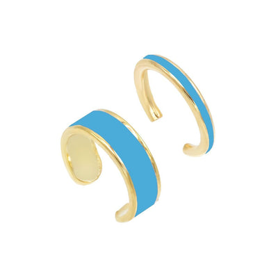2 Piece Enamel Ear Cuff Set Turquoise | Urban Accessories NYC