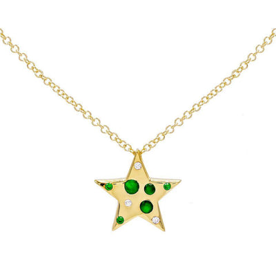Colored Star Stones Necklace Emerald Green | Urban Accessories NYC