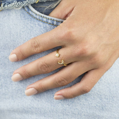 Pave Moon & Star Ring  | Urban Accessories NYC