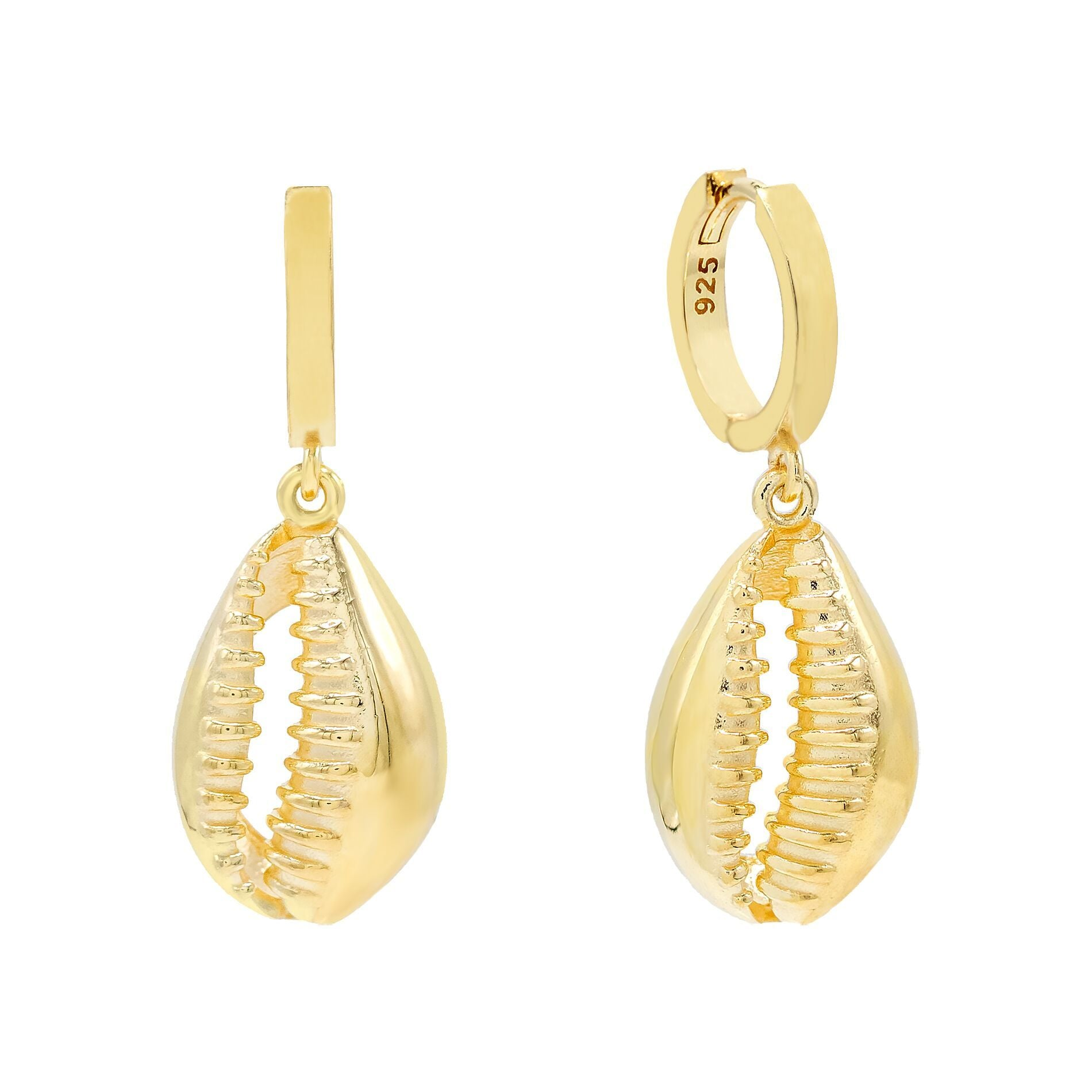 Shell Huggie Earring Gold | Urban Accessories NYC